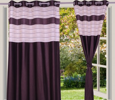 Desire Polyester Brown Solid Eyelet Door Curtain