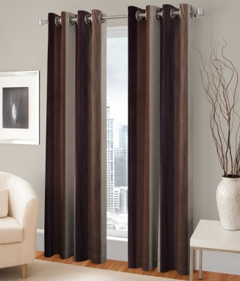 PHF Polyester Brown Plain Eyelet Door Curtain