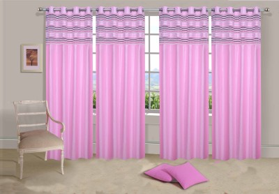 Ville Style Polyester Baby Pink Solid Eyelet Long Door Curtain