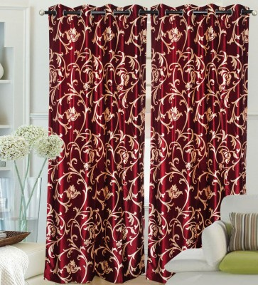 Fantasy Home Decor Polyester Maroon Floral Eyelet Door Curtain