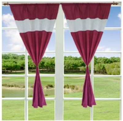 VKE Product Polyester, Cotton Maroon, White Plain, Self Design Curtain Door Curtain
