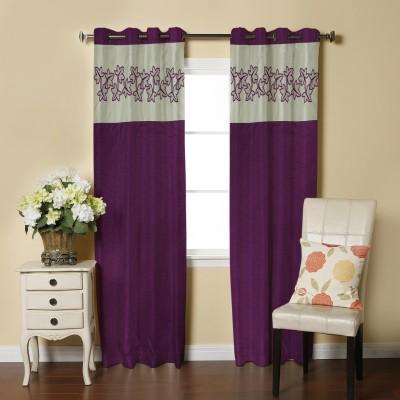 Abhi Décor Polyester Purple Embroidered Curtain Window Curtain
