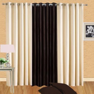 Excel Bazaar Polycotton Cream-1brown Plain Eyelet Door Curtain