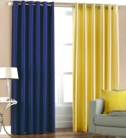 Excel Bazaar Polyester Blue, Yellow Plain Eyelet Door Curtain(212 cm in Height, Pack of 2)
