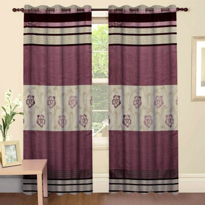 Mdf Curtains Polycotton Wine Floral Eyelet Door Curtain
