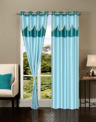 Swastik Polycotton Blue Plain Eyelet Window & Door Curtain