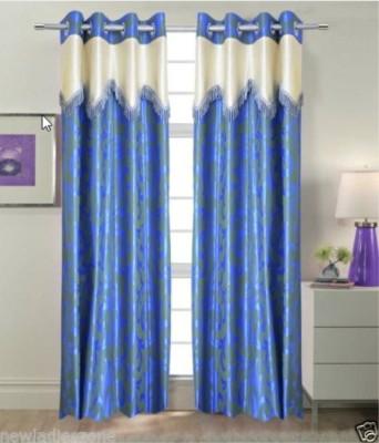 Indiatradeus Polyester Blue Geometric Eyelet Window Curtain