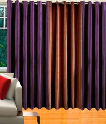 White Wave Polyester Purple, Brown Solid Tab Top Long Door Curtain