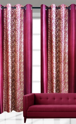 India Furnish Polyester Pink Printed Eyelet Door Curtain
