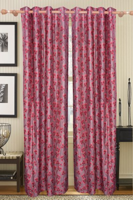 Furnishing Kingdom Polyester Red Floral Ring Rod Door Curtain