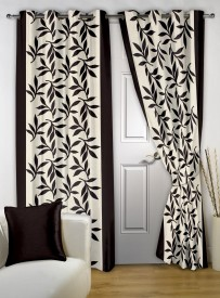 Story@home Polyester Brown Floral Eyelet Door Curtain(215 cm in Height, Pack of 2)
