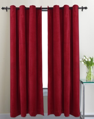 Home Boutique Cotton Red Plain Eyelet Door Curtain