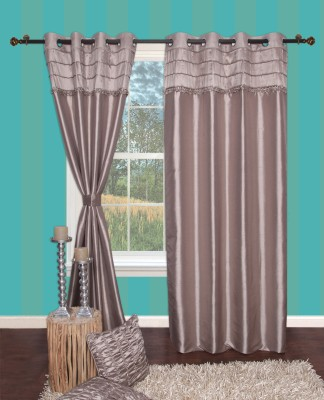 Furniche Polyester Gray Printed Eyelet Window Curtain