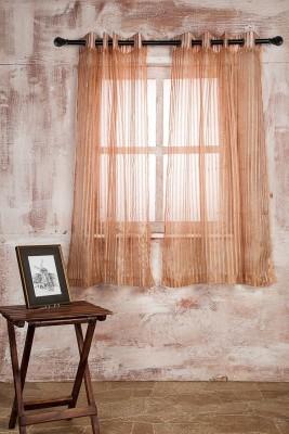 Marigold Polyester PEACHBEIGE Striped Curtain Window Curtain