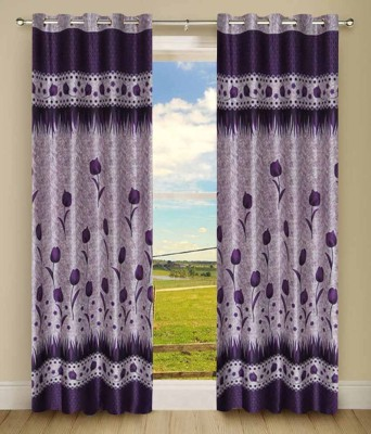 Panipat Textile Hub Polyester Purple Floral Eyelet Door Curtain