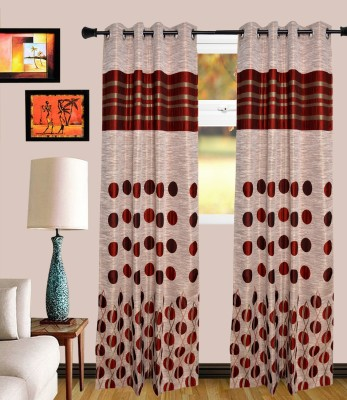 MF Polycotton Maroon Polka Eyelet Window Curtain