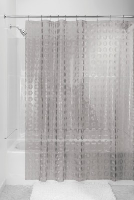 Interdesign PVC White Printed Concealed Tab Top Shower Curtain