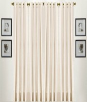 Shivam Concepts Polyester Cream Plain Eyelet Long Door Curtain(275 cm in Height, Pack of 4)
