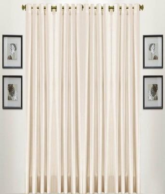 shivamconcepts Polyester Cream Plain Eyelet Long Door Curtain