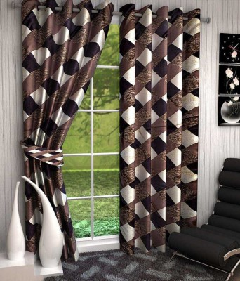 Divine Polyester Brown Abstract Eyelet Window Curtain