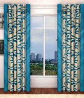Home Pictures Polyester Blue Floral Ring Rod Long Door Curtain(274 cm in Height, Pack of 2)