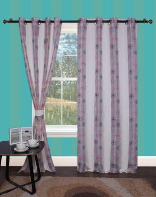 Furniche Polyester Multicolor Self Design Eyelet Window Curtain