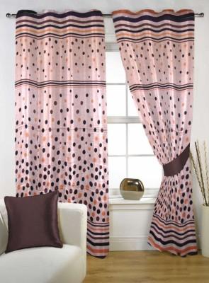 Handloom Factory Polycotton Multicolor Geometric Eyelet Door Curtain
