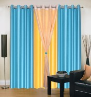 Home Elite Polyester Blue, Yellow Plain Eyelet Door Curtain(214 cm in Height, Pack of 4)