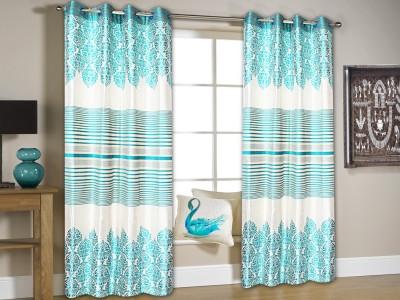 String Jacquard Blue Floral Eyelet Window & Door Curtain