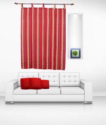 Lukluck Cotton Red Abstract Ring Rod Window Curtain