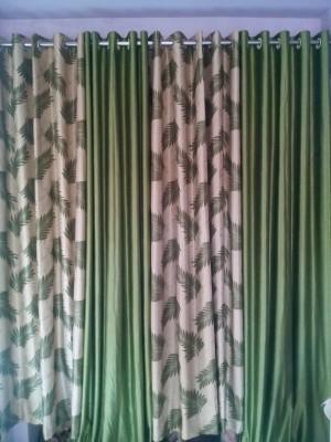 mansuriwala Polyester Green Floral, Plain Eyelet Window & Door Curtain