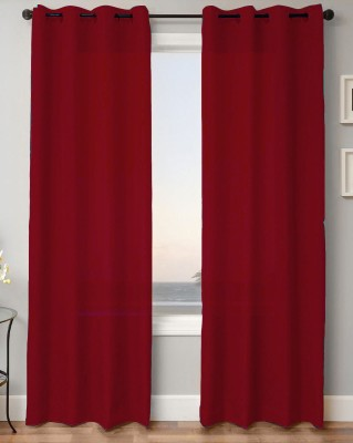 Kwality Polyester Red Plain Eyelet Door Curtain
