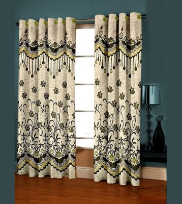 Shree Plus Polycotton Green Floral Rod pocket Door Curtain