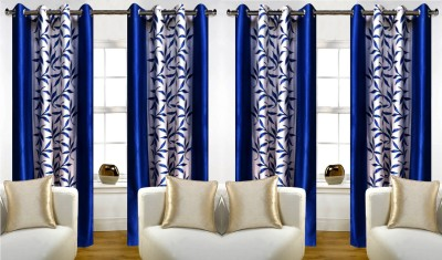 Thiwas Polyester Blue Printed Eyelet Door Curtain