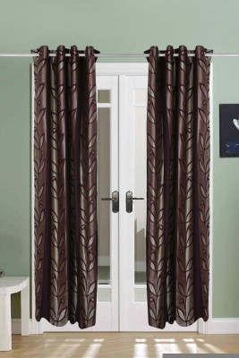 The Handloom Store Polycotton Purple Floral Eyelet Long Door Curtain