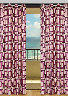HOME-AID Polyester Magenta Geometric Ring Rod Door Curtain