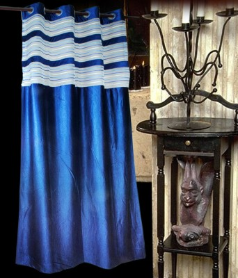 Madhav Product Polyester Blue Striped Eyelet Door Curtain