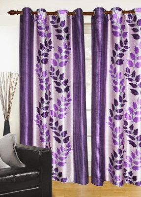 Madavs Polyester Purple Floral Eyelet Door Curtain
