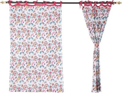 Rajrang Cotton White Floral Tab Top Door Curtain