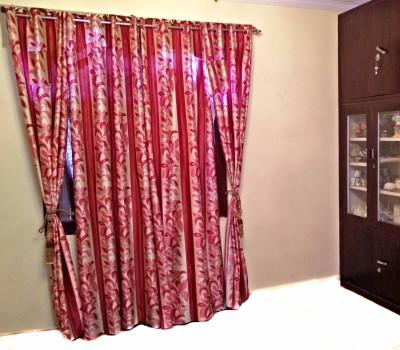 SHC Polyester Maroon Floral Eyelet Door Curtain