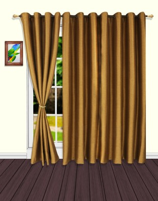S9home by Seasons Polyester Gold Solid Eyelet Door Curtain
