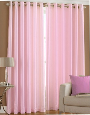 White Wave Polyester Plain Pink Solid Eyelet Long Door Curtain