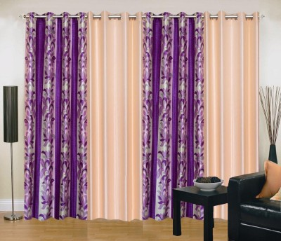 New Trends Polyester Purple, Beige Printed Eyelet Window Curtain