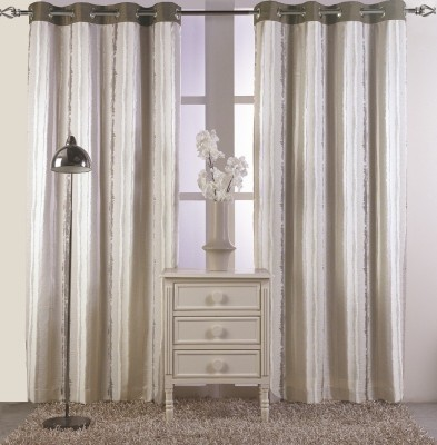 KC HOME Polycotton Beige Abstract Curtain Window Curtain