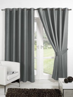 Homec Polyester Grey Solid Eyelet Long Door Curtain