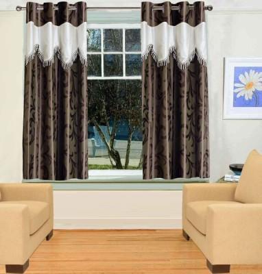 TT Brown Printed Eyelet Window Curtain