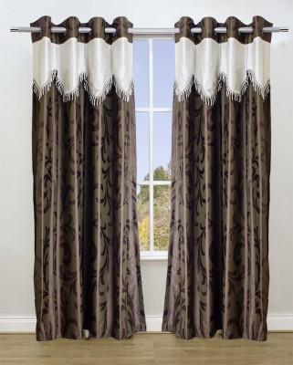 TT Brown Printed Eyelet Door Curtain