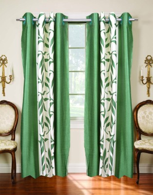 Trendy Home Polyester Green Printed Eyelet Door Curtain