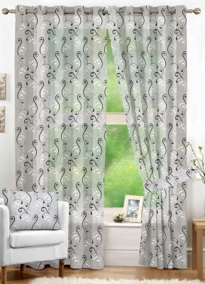 NuHome Decor Polyester White Embroidered Eyelet Window Curtain