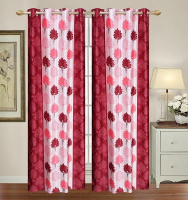 Yellow Weaves Polyester Multicolor Floral Eyelet Door Curtain